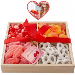 Valentines Day Four Section Wooden Goodies Tray