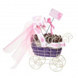 Chocolate Covered Pretzels in Baby Girl Stroller