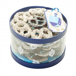 CHANUKAH CHOCOLATE PRETZEL ROUND CYLINDER GIFT BOX