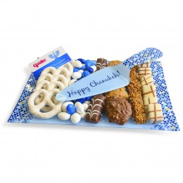 Chanukah Chocolate Platter Glass Tray and Server Set