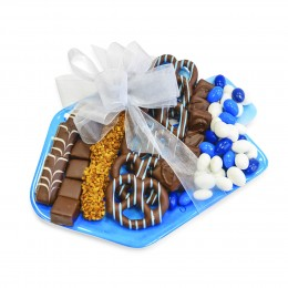 Chocolate Filled Dreidel Shaped Melamine Plate