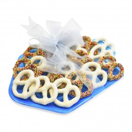 Chocolate Covered Pretzels Filled Dreidel Shaped Melamine Plate