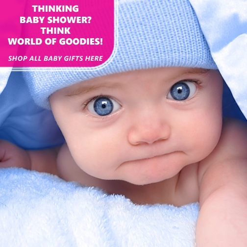 thinking baby showers, think world of goodies, shop baby gifts here